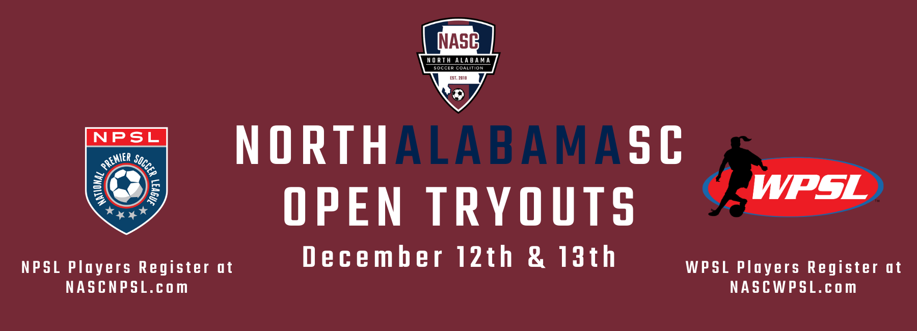 Register for NPSL & WPSL OPEN Tryouts on December 12th & 13th